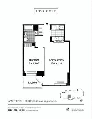 floorplan for 2 Gold Street #3507