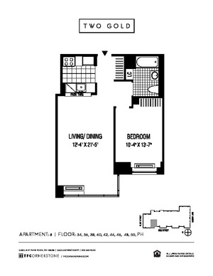 floorplan for 2 Gold Street #PH8