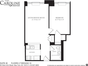 floorplan for 60 West 23rd Street #1046