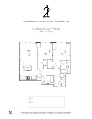 floorplan for 21 West End Avenue #2202