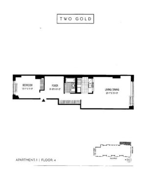 floorplan for Two Gold Street #401