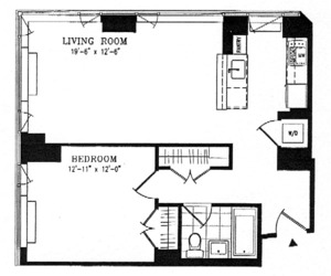 floorplan for 635 West 42nd Street #6A