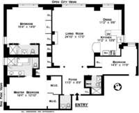 floorplan for 150 Central Park South #20D