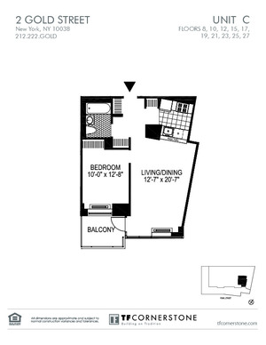 floorplan for 2 Gold Street #10C