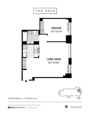 floorplan for 2 Gold Street #2302