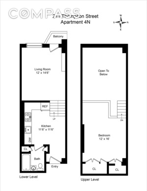 floorplan for 211 Thompson Street #4N