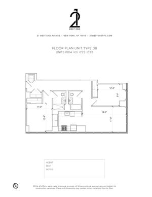 floorplan for 21 West End Avenue #1121