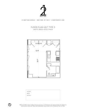 floorplan for 21 West End Avenue #3303