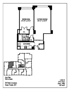 floorplan for 30 Park Avenue #6N