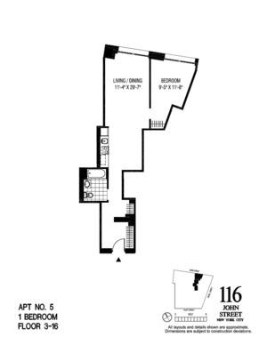 floorplan for 116 John Street #705