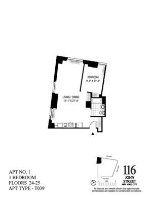 floorplan for 116 John Street #2401