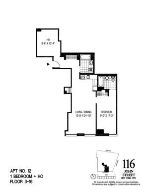 floorplan for 116 John Street #1112