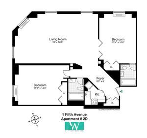 floorplan for 1 Fifth Avenue #2D