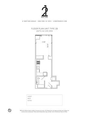 floorplan for 21 West End Avenue #1515