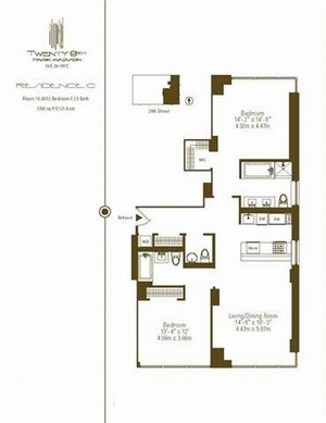 floorplan for 39 East 29th #21C
