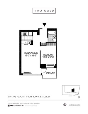 floorplan for 2 Gold Street #10D