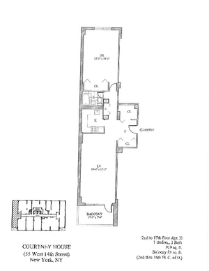 floorplan for 55 West 14th Street #16H