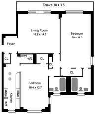 floorplan for 444 Central Park West #12G