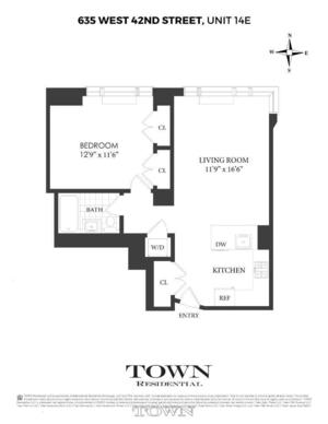 floorplan for 635 West 42nd Street #14E