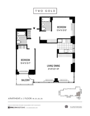 floorplan for 2 Gold Street #2303