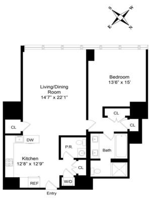 floorplan for 157 West 57th Street #39D