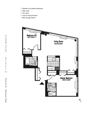 floorplan for 601 West 57th Street #36B