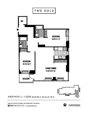 floorplan for 2 Gold Street #4303