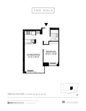 floorplan for 2 Gold Street #24D
