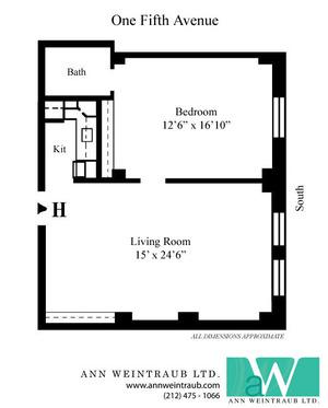 floorplan for 1 Fifth Avenue #3H