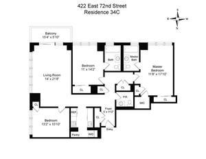 floorplan for 422 East 72nd Street #34C