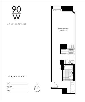floorplan for 90 Washington Street #12K