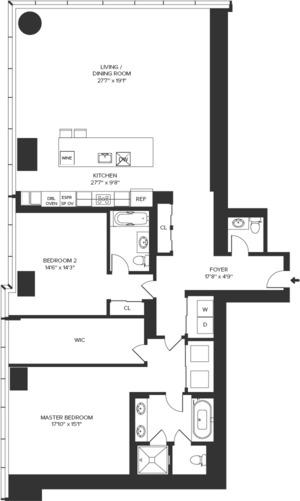 floorplan for 157 West 57th Street #39R