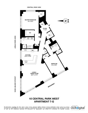 floorplan for 15 Central Park West #7G