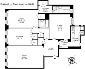 floorplan for 15 West 81st Street #6G