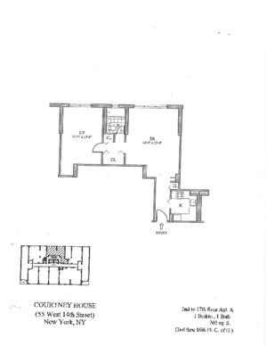 floorplan for 55 W. 14th Street #9A