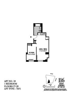 floorplan for 116 John Street #2710