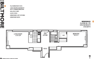 floorplan for 271 West 47th Street #49E