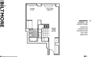 floorplan for 271 West 47th Street #32E