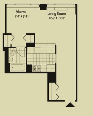 floorplan for 601 West 57th Street #11A