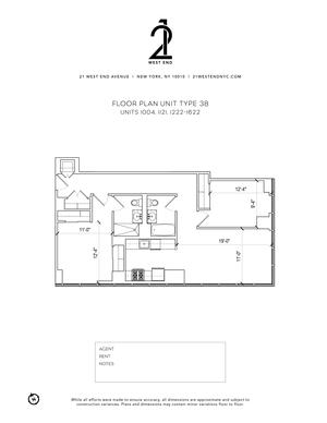 floorplan for 21 West End Avenue #1422