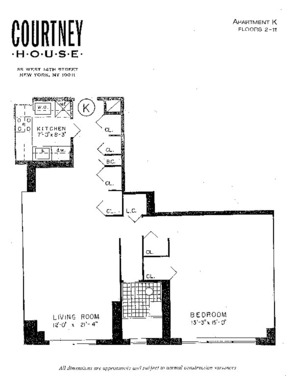 floorplan for 55 West 14th Street #6K