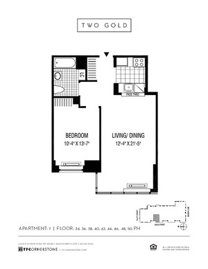 floorplan for 2 Gold Street #4007