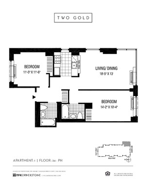 floorplan for 2 Gold Street #4401