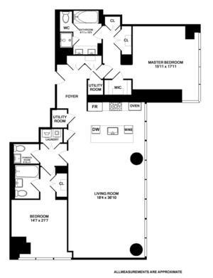 floorplan for 157 West 57th Street #42B