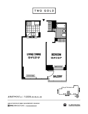 floorplan for 2 Gold Street #3106