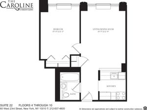 floorplan for 60 West 23rd Street #522