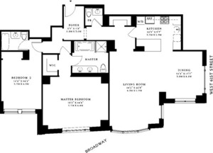 floorplan for 15 Central Park West #10M