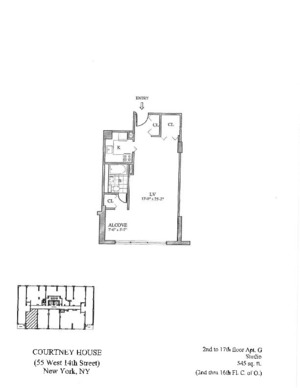 floorplan for 55 West 14th Street #6G
