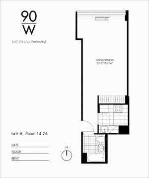 floorplan for 90 Washington Street #26H