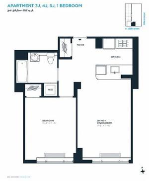 floorplan for 305 West 16th Street #4J